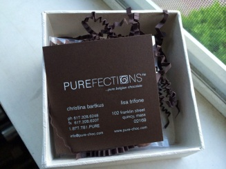 Party favors from Purefections Chocolate of Quincy. Milk- and dark-chocolate turtles!