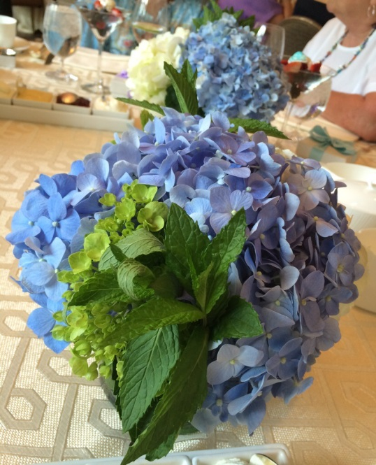 Mint and hydrangeas on every table. I got to take one home!