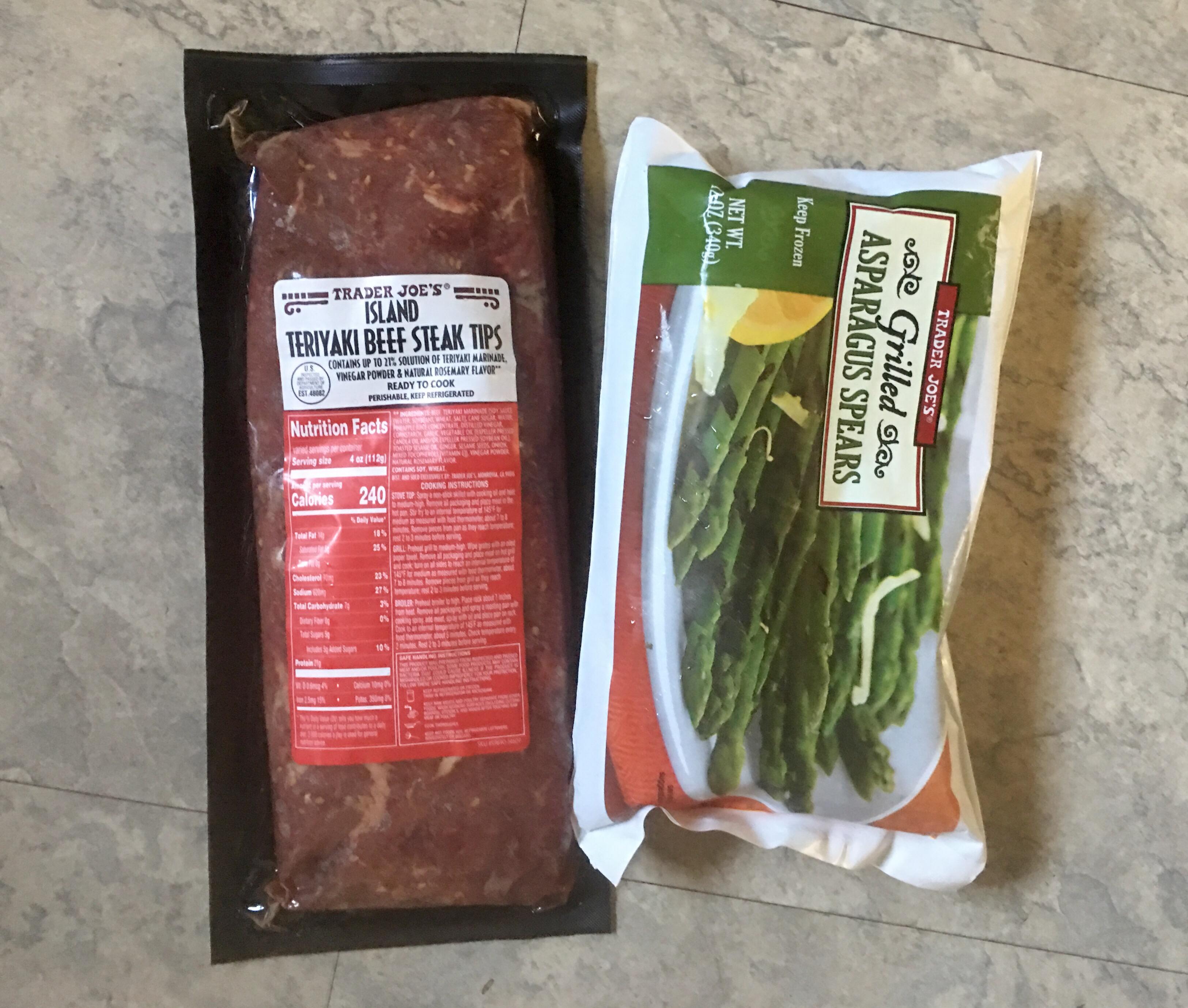 trader joe s tag teriyaki steak tips grilled asparagus. Black Bedroom Furniture Sets. Home Design Ideas
